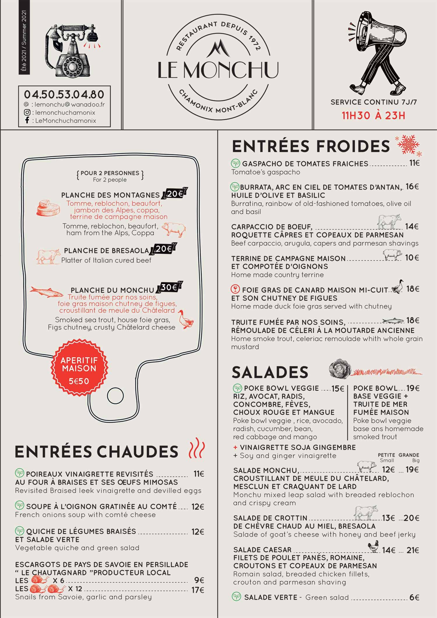 Carte restaurant le Monchu 1