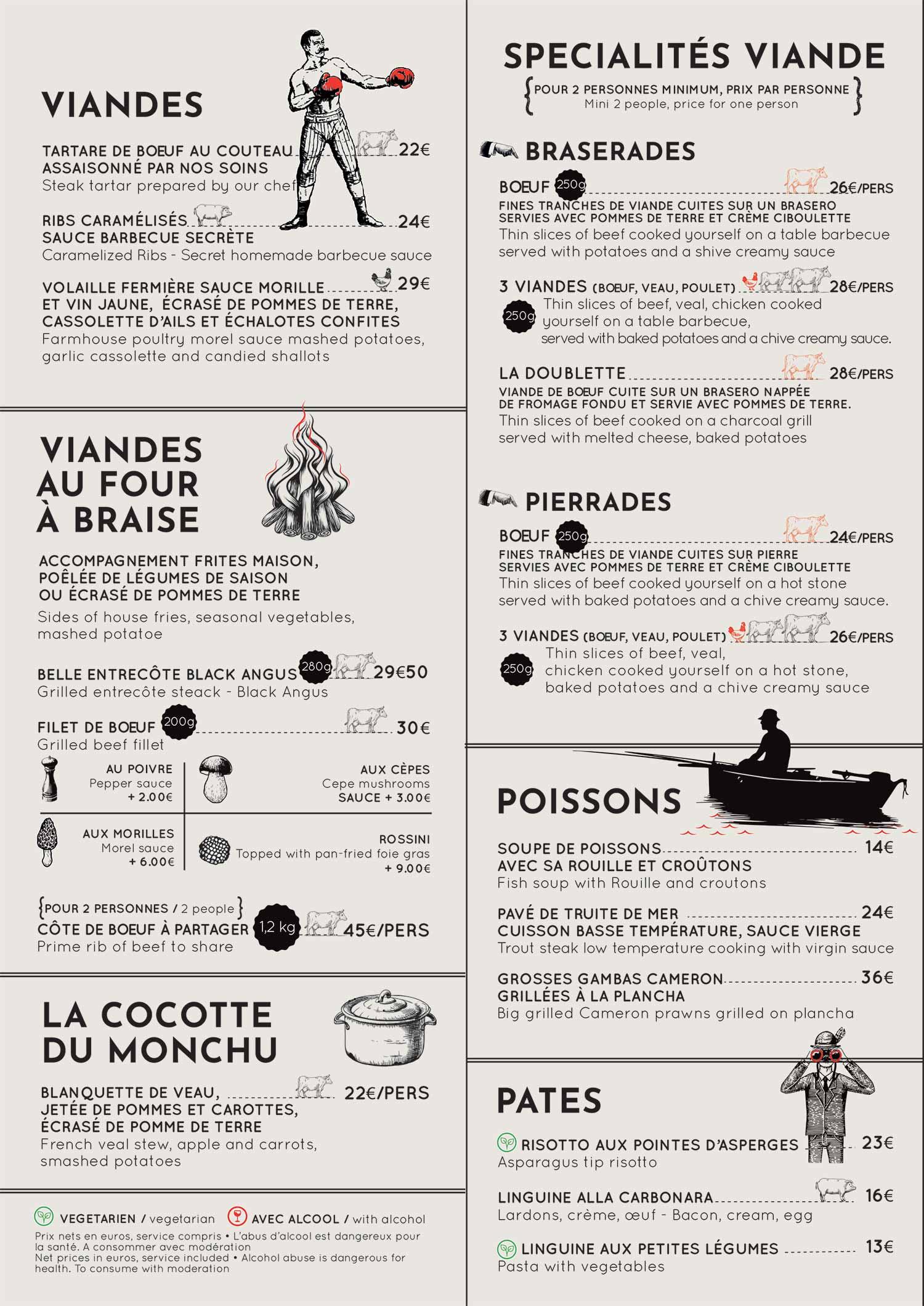Carte restaurant le Monchu 2