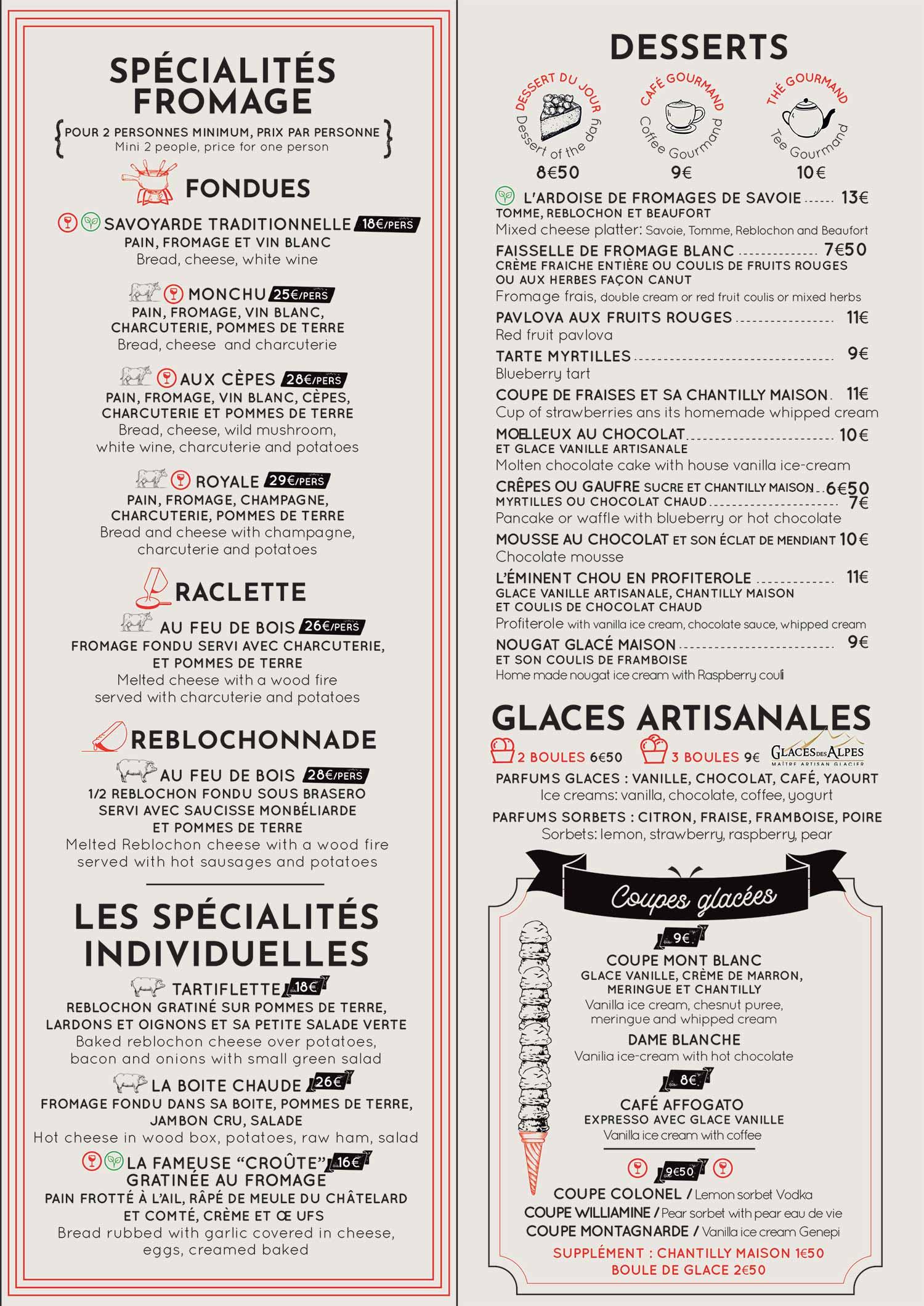 Carte restaurant le Monchu 3